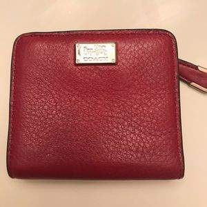 Coach Red Pebbled Leather Wallet